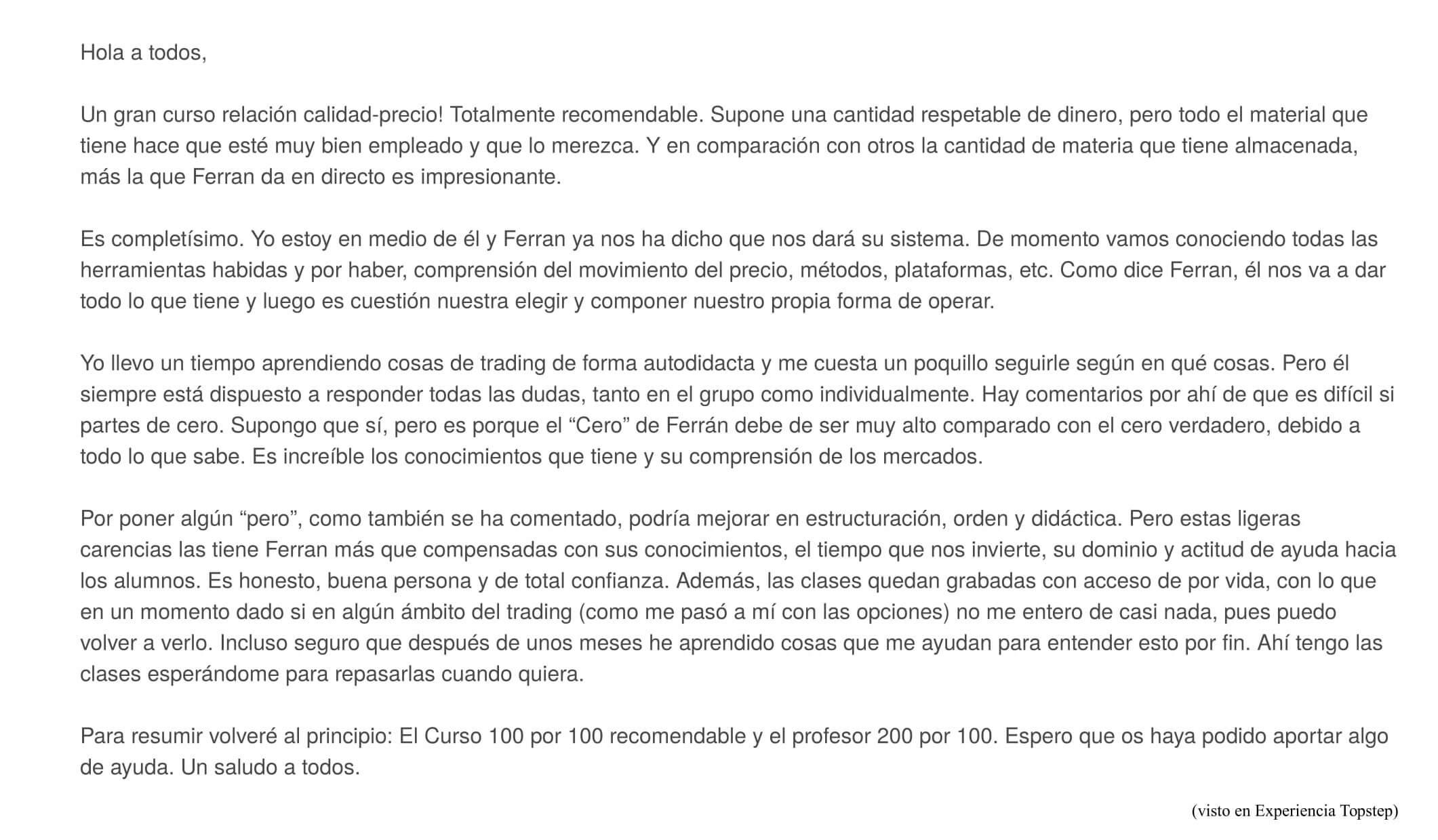 Comparativa Curso Ferran Font contra Madrigal Eurekers y Francisca Serrano de Trading para todos